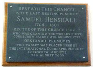 Samuel Henshall plaque