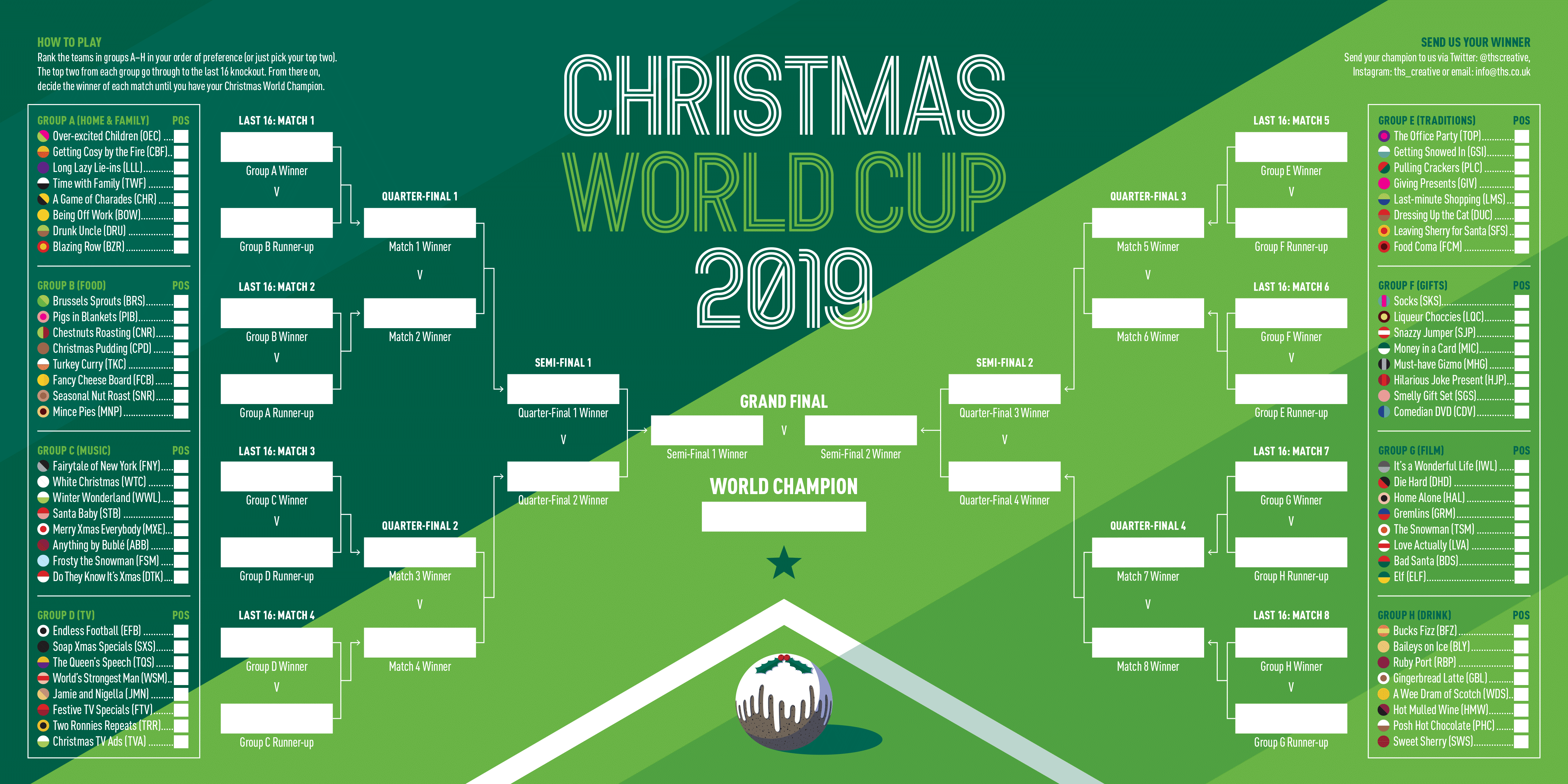 World Cup Wall Chart Christmas Card Design 2019